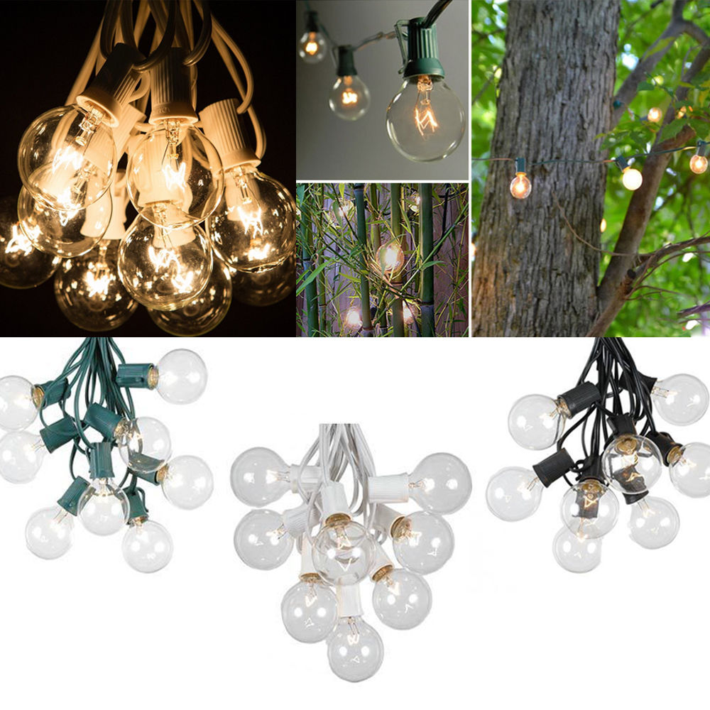 Clear Globe String Lights Set Of 25 G40 Bulbs : 25 Foot Outdoor Globe Patio String Lights - Set of 25 G40 Clear Bulbs UK Plug eBay